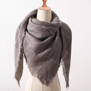 Accessories - NEW Fringe Blanket Scarf Shawl in Light Ash Grey